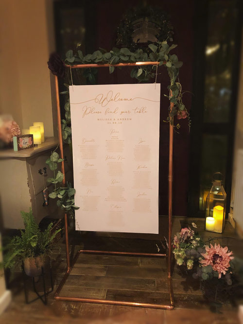Copper Frame Welcome Sign or Table Plan for Wedding Event