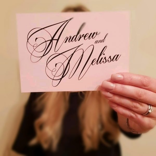 Bride to be Holding Save the Date Card