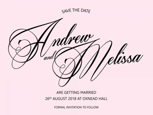 Save the Date card blush background black text