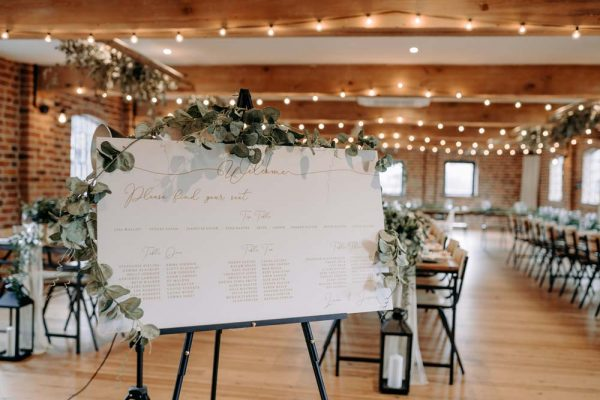Beautiful Blush and Gold Seating Plan sat on easel at Wedding
