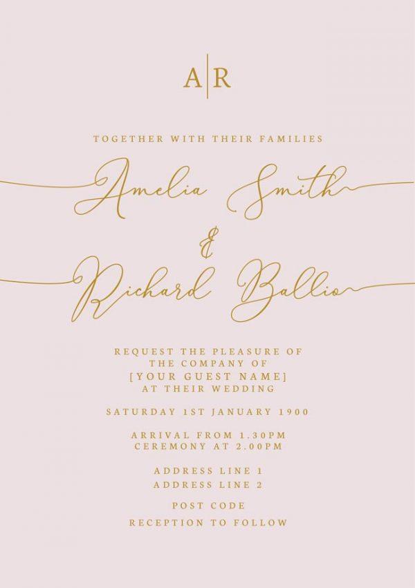 Blush & Gold Wedding Luxe Invitations