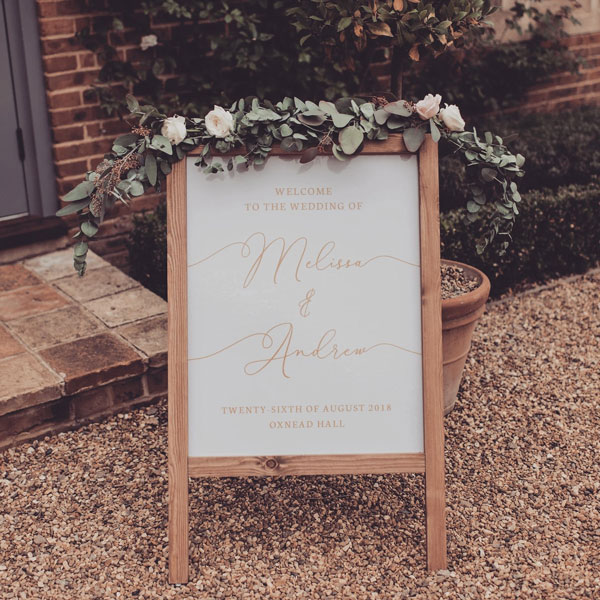 Beautiful Wedding Welcome Sign Free Standing Wooden with Flower Arrangement on top